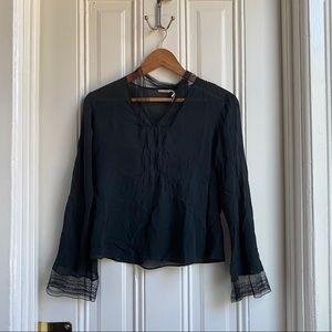 Max Studio Black Long Bell Sleeve Sheer Blouse